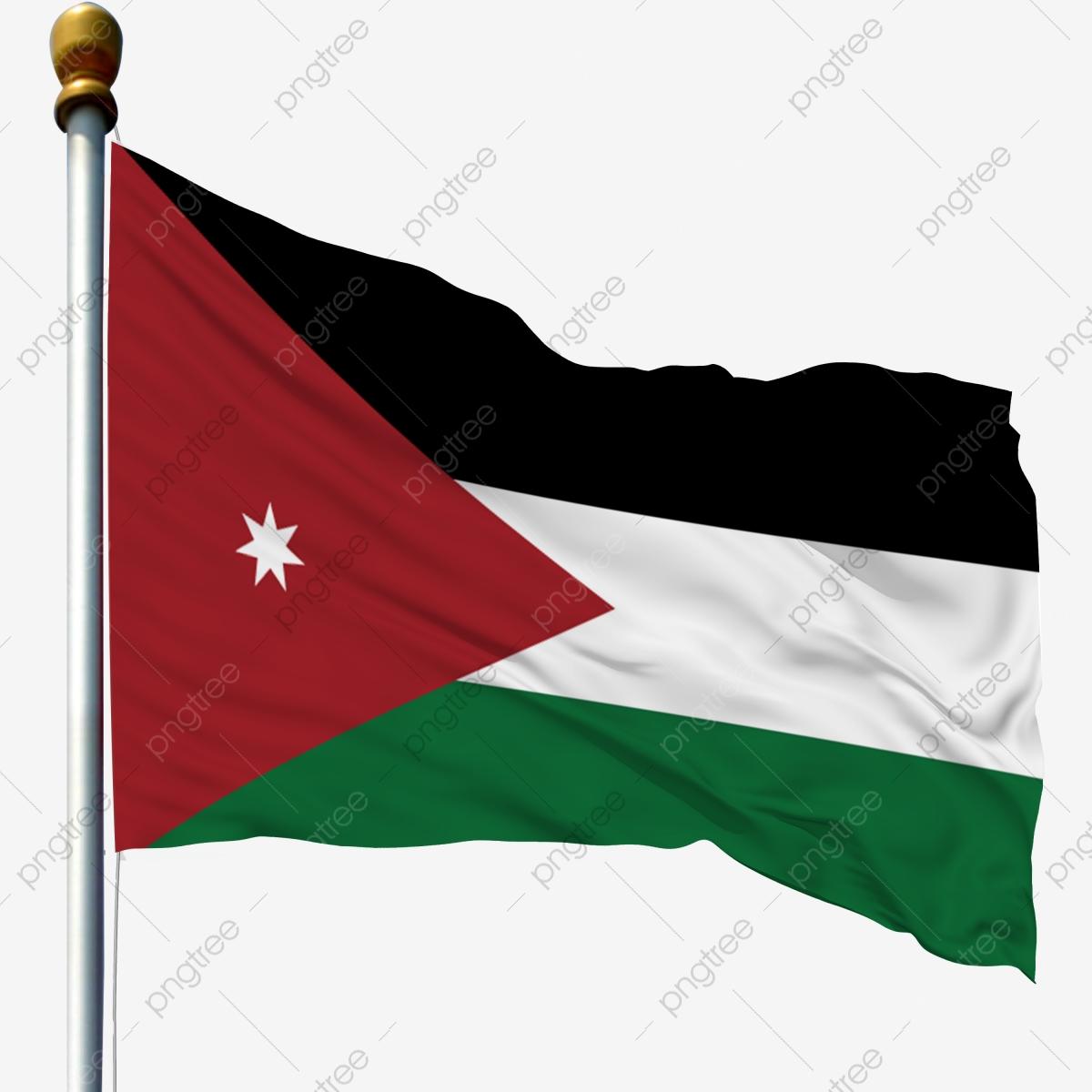 Jordan National Flag Waving Flag Flagpole Flag, Flagpole With Flag.