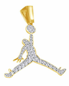 Details about 10K Yellow Gold Finish Jumpman Jordan Logo Round Diamond  Pendant Charm 0.60ct.
