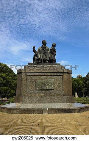 Stock Image of Monument in a garden, Jose De San Martin, Parque.