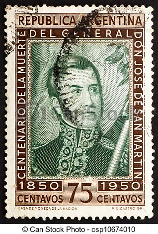 Stock Photography of Postage stamp Argentina 1950 Jose de San.