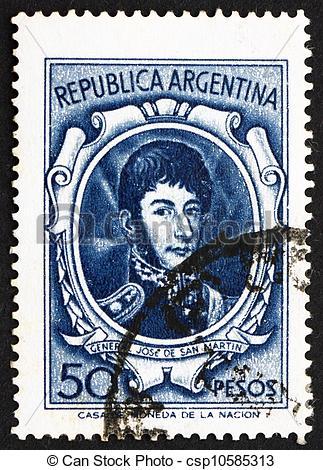 Stock Photography of Postage stamp Argentina 1955 Jose de San.