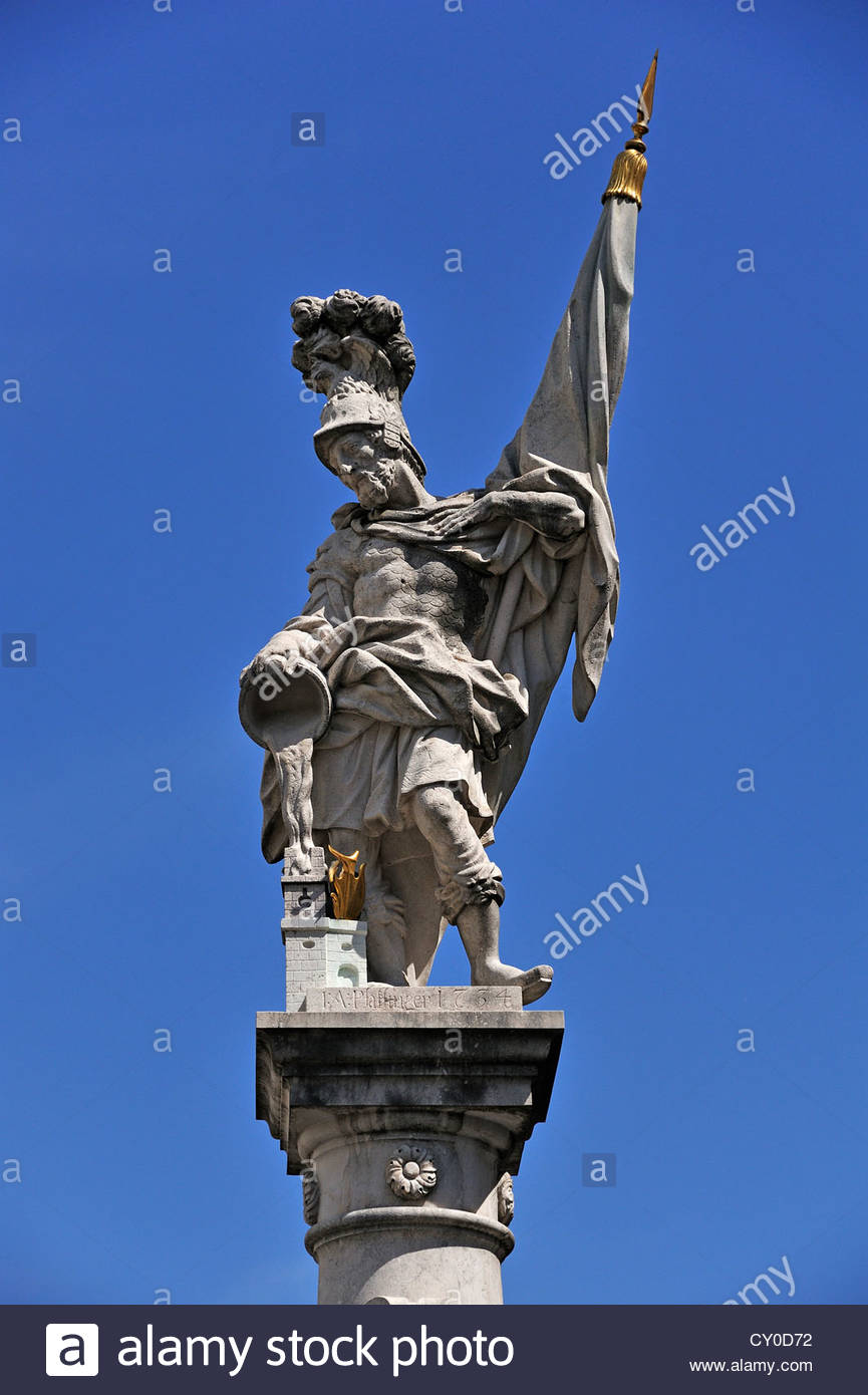 Statue Of St. Florian On The Florianibrunnen Fountain, Created In.