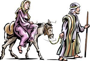 Mary on the donkey clipart.