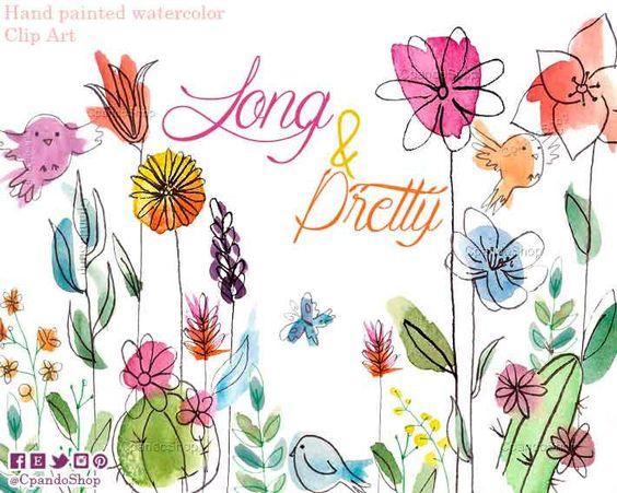 Long flower png flower watercolor clip art birds clipart cactus.