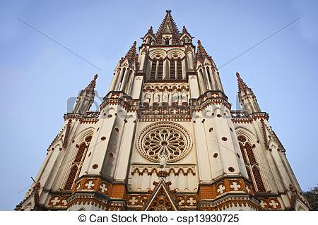 Stock Photo of Catholic Church in Trichy,Tamil Nadu, Southern.
