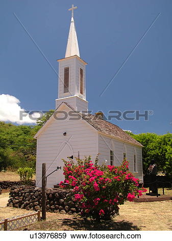 Stock Photograph of Kamalo, Molokai, HI, Hawaii, East Molokai, St.