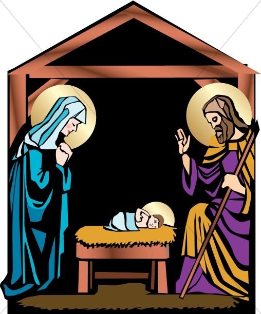 Nativity with Mary, Joseph and Jesus.