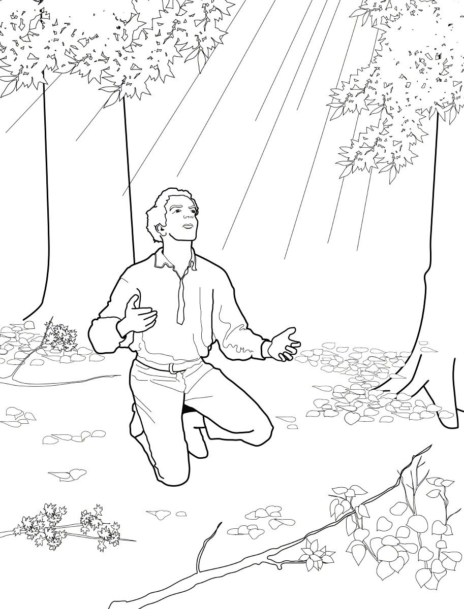 Joseph Smith and the First Vision. Primary Coloring Page.
