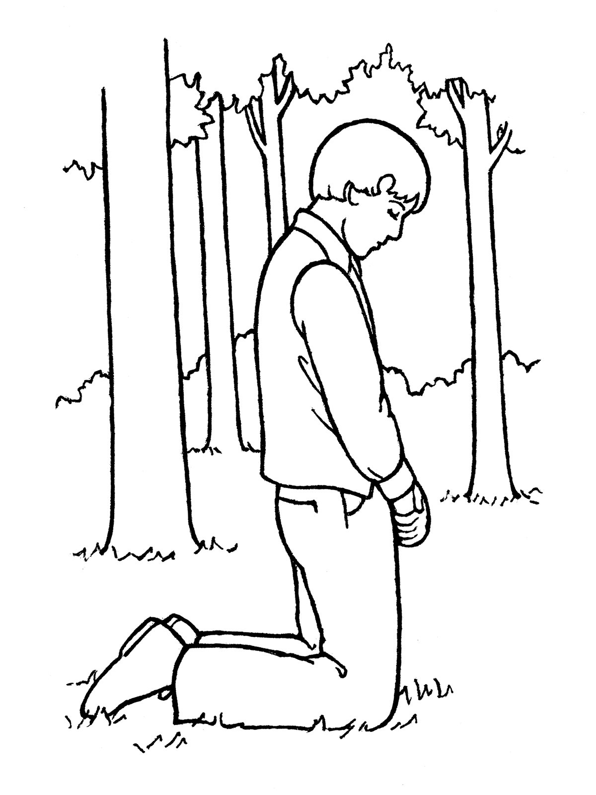 Joseph Smith Praying in the Sacred Grove.