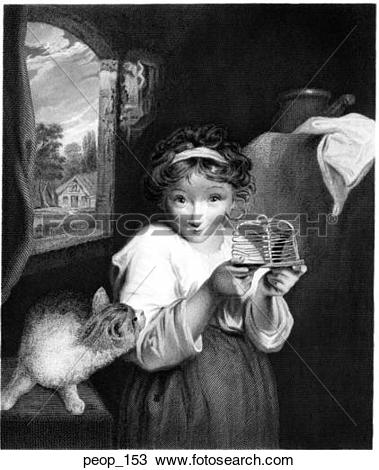 "Drawing of A girl with a mouse while a cat looks on ""The Mouse"" by."