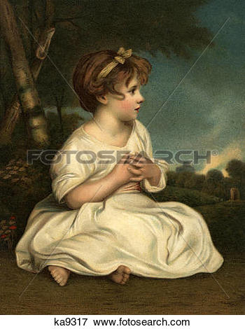 Picture of 1700S The Age Of Innocence Portrait Of Small Girl By.