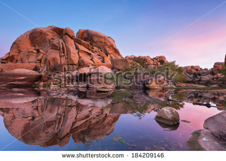 Barker Dam (Joshua Tree National Park) At Sunrise Stock Photo.