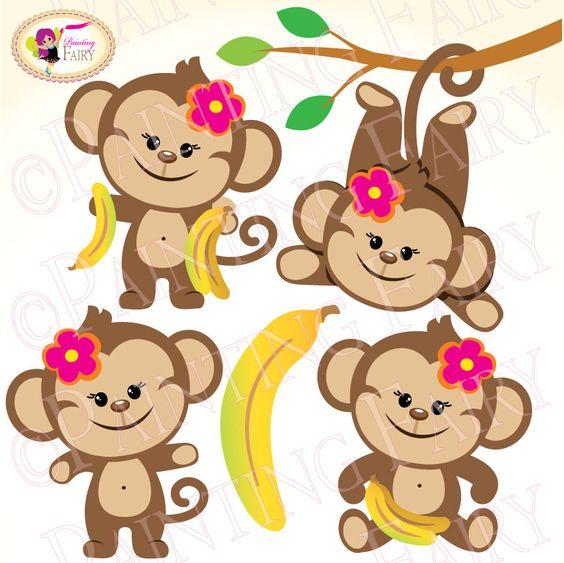 Clipart Cute Girl Monkeys with Bananas Zoo Safari clip art Sweet.