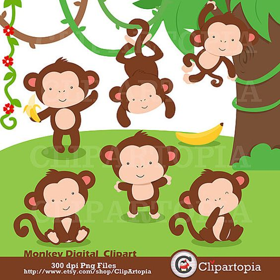 Monkey Digital Clipart / Cute Little Monkey Digital Clip art For.