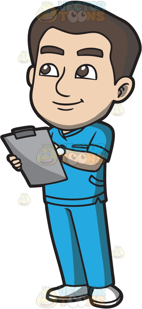A Male Nurse Jotting Down Vital Records Cartoon Clipart.