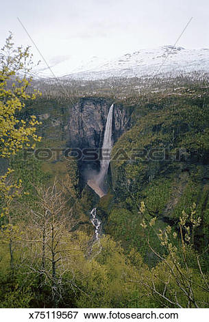 Picture of Norway, Jotunheimen, Vettifossen (Vetti Waterfall.