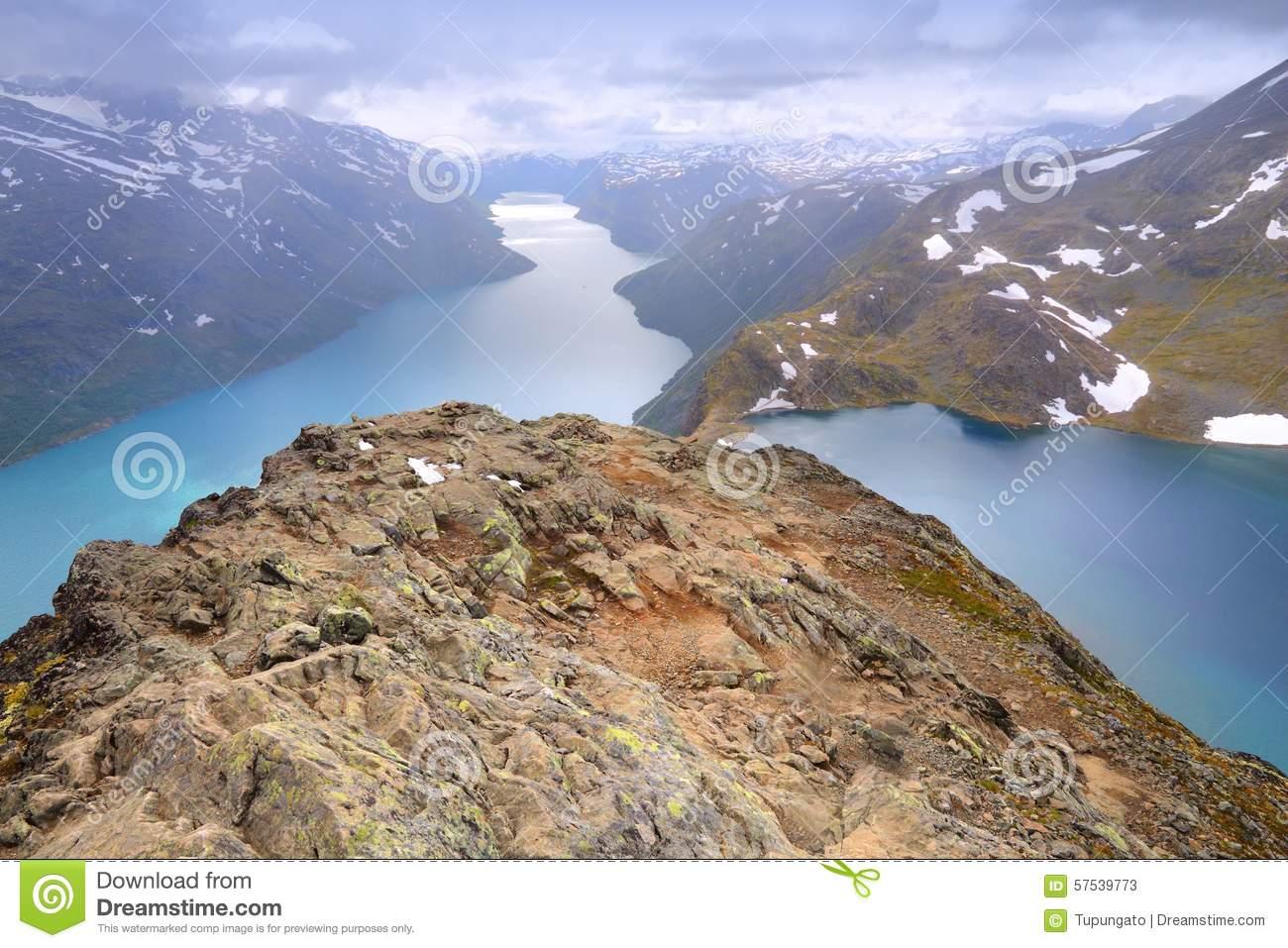 Besseggen Ridge At Jotunheimen National Park Two Lakes Stock Photo.