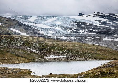 Stock Image of Veobrean glacier seen from Glittertind mountain.