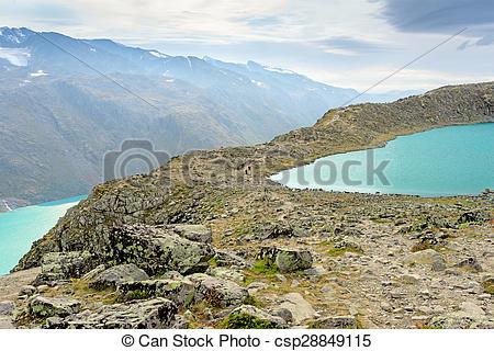 Stock Photography of Besseggen Ridge in Jotunheimen National Park.