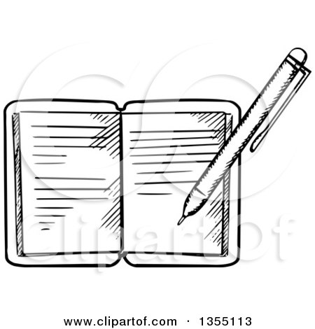 Clipart of a Black and White Pen Writing in a Journal.
