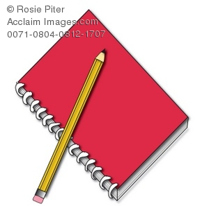 A Red Spiral Notebook With a Yellow Pencil.