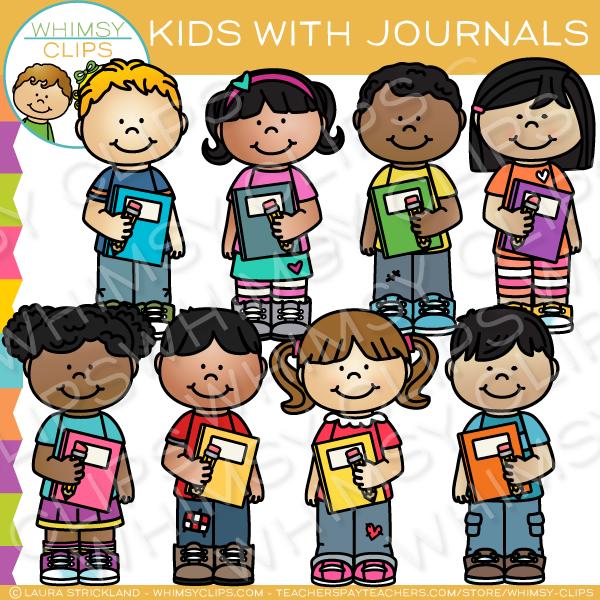 Kids School Journal Clip Art.