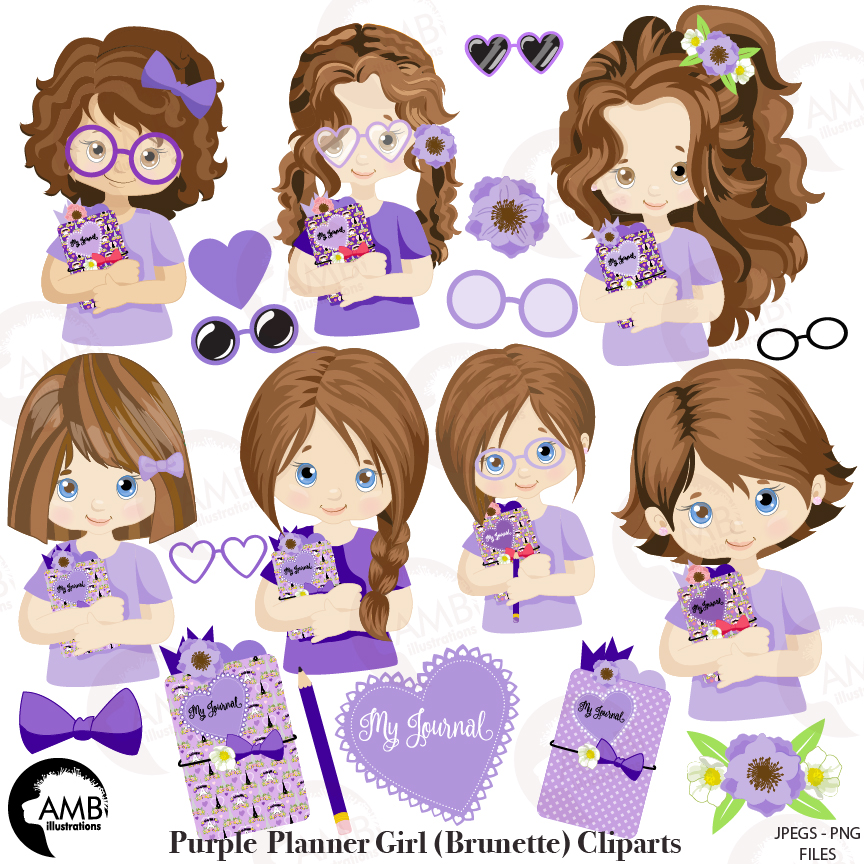 Planner girl clipart, Planner clipart, Journaling clipart, Journal girl  clipart, AMB.