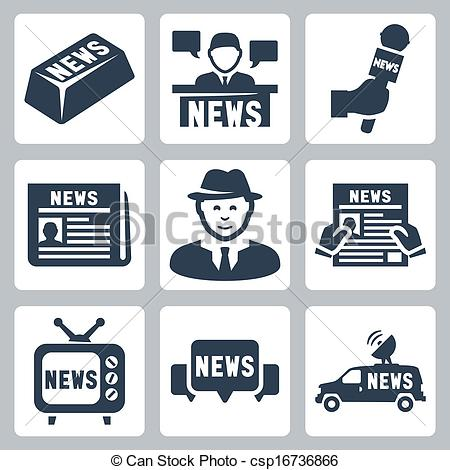 Clip Art Vector of Vector news and journalism icons set.