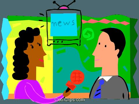 Femme journaliste de nouvelles entrevues homme Vecteurs de.