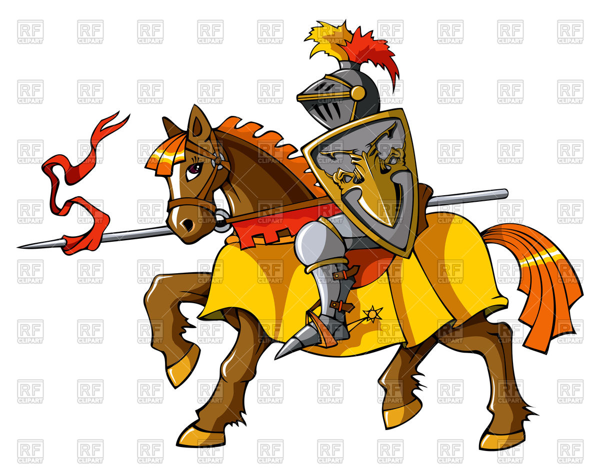 Medieval cavalry knight on horseback, preparing for joust or fight.