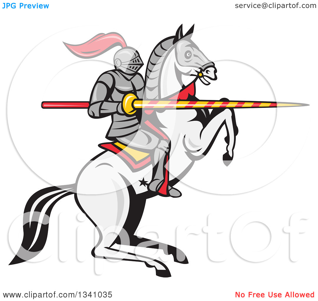 Clipart of a Cartoon Horseback Armored Jousting Knight on a.