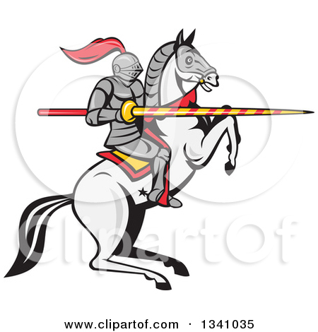Clipart Jousting Knight Opponents Racing Towards Each Other With.