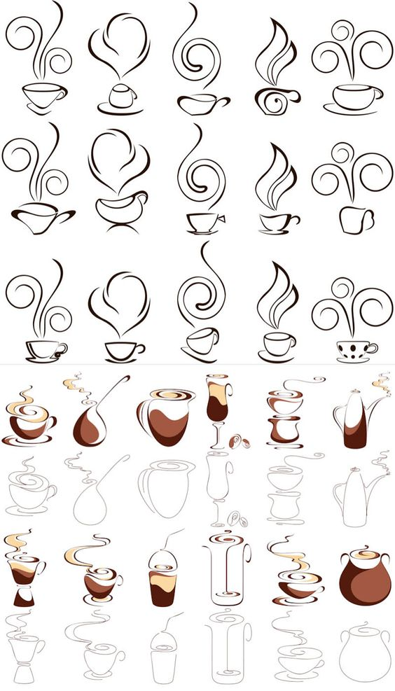 Coffee vector icons.