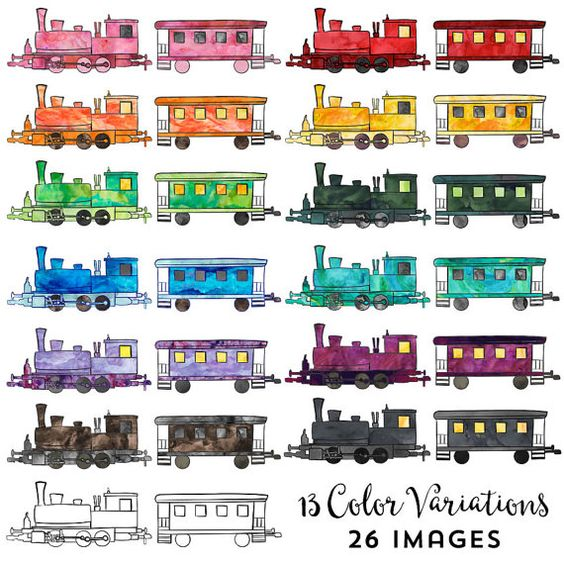 Create a Train Clipart Digital Instant Download, Commercial Use.