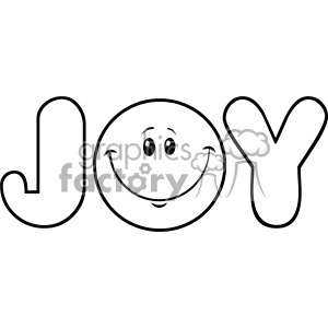 10840 Royalty Free RF Clipart Black And White Joy Logo With Smiley Face  Cartoon Character Vector Illustration clipart. Royalty.
