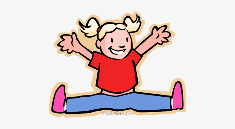 Little Girl Jumping For Joy Royalty Free Vector Clip.