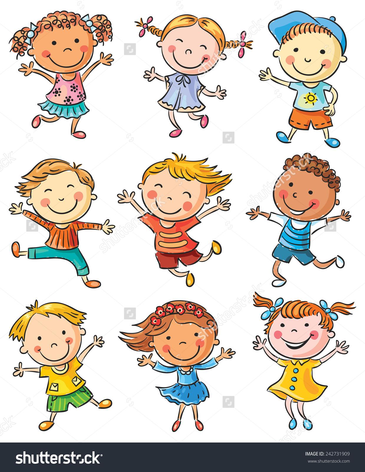 Nine Happy Cartoon Kids Dancing Jumping Stock Vector 242731909.