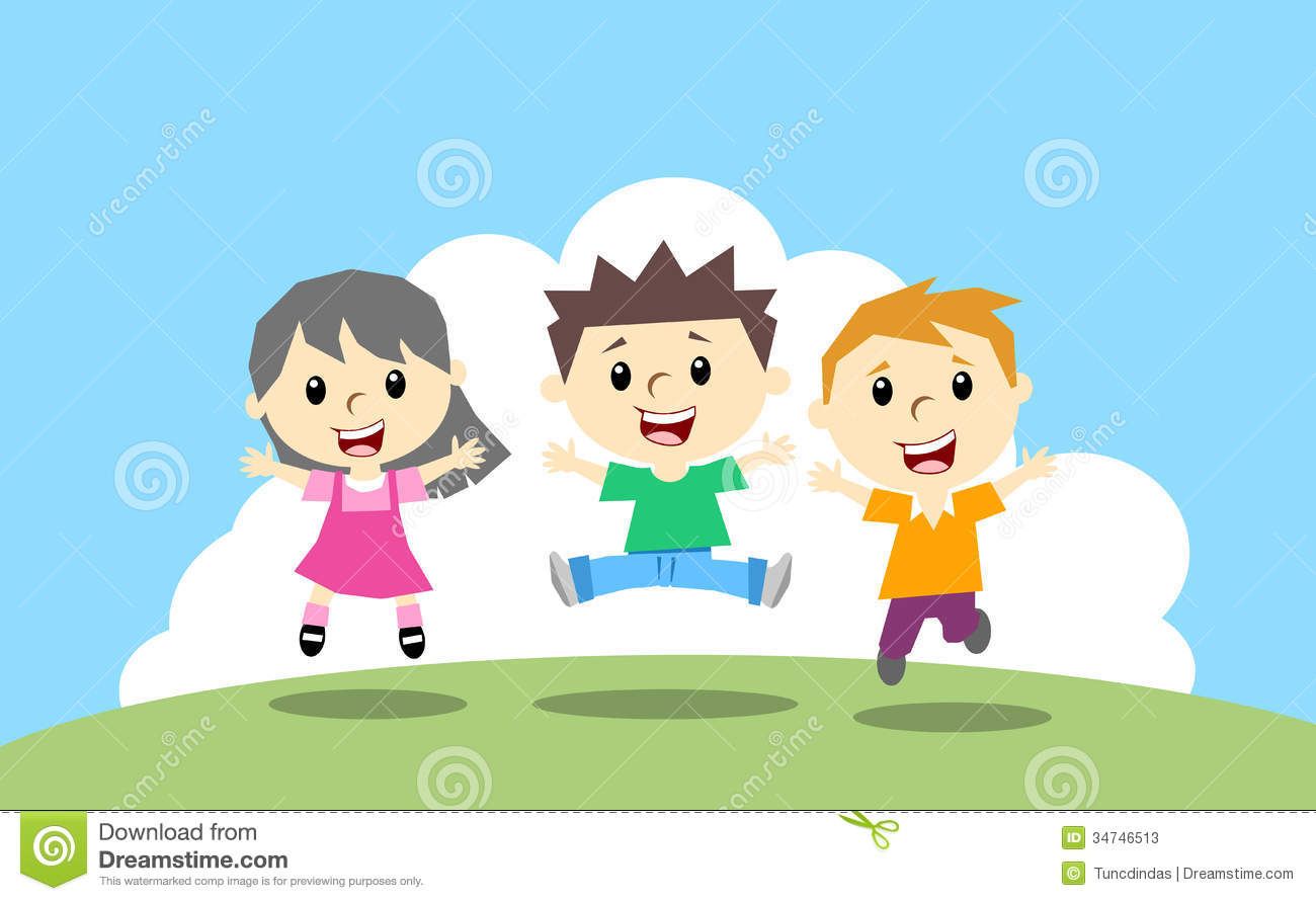 Clipart images of happy kids jumping for joy.