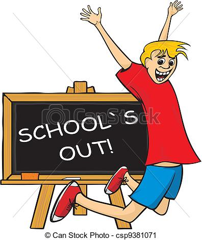 Vector Clip Art of school`s out.