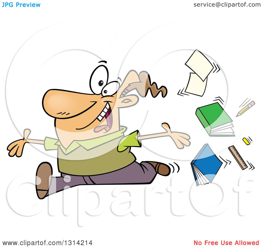 Clipart of a Cartoon Brunette White Male Teacher Tossing up Books.