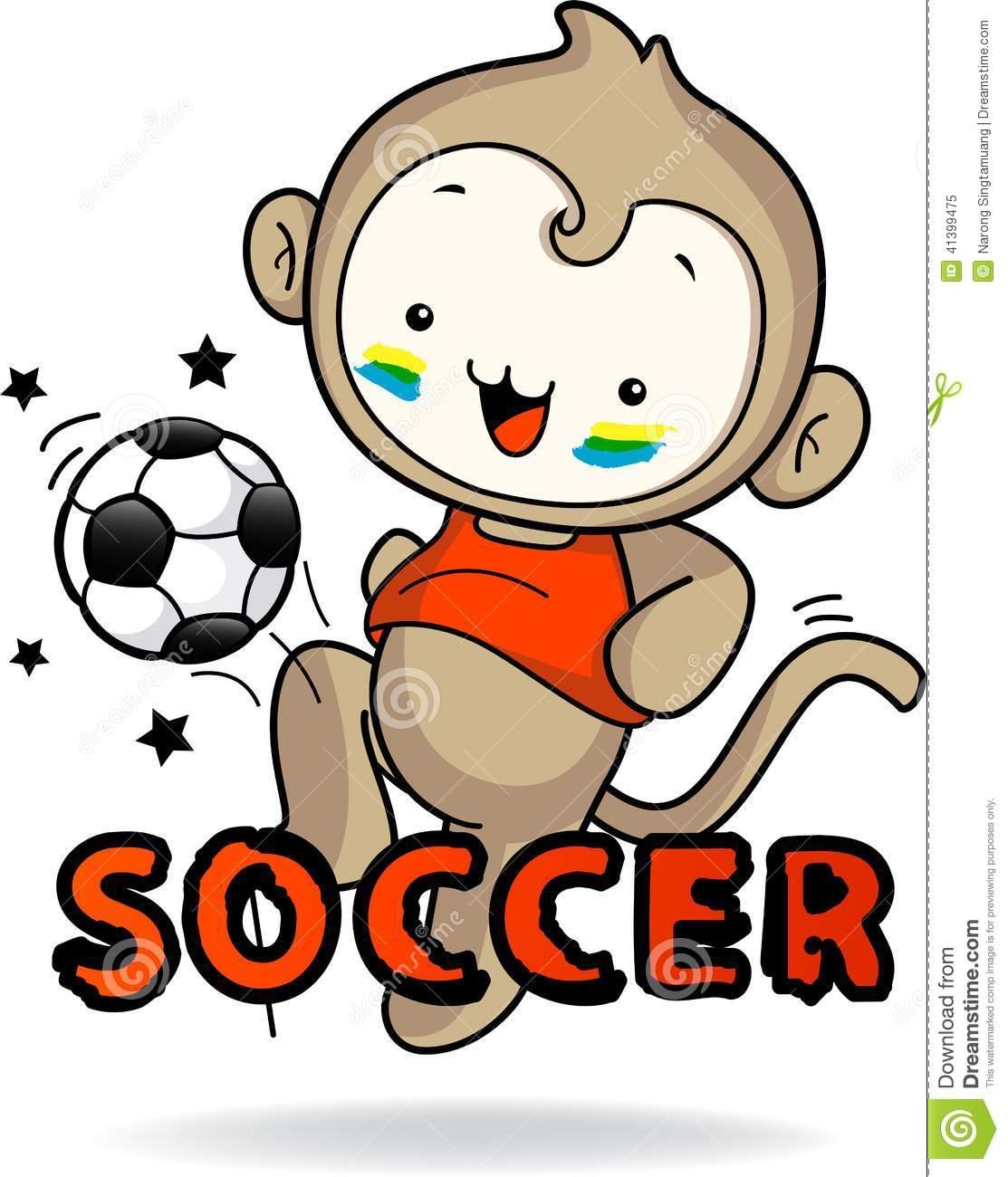 Monkey Boy Playing Soccer Joyfully Stock Vector.