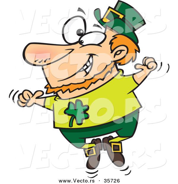 Vector of a Happy St. Patrick's Day Cartoon Leprechaun Joyfully.