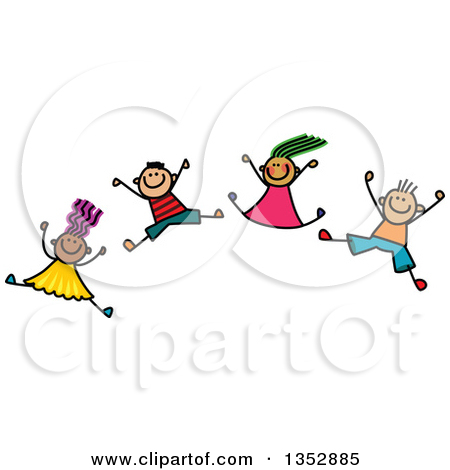 Clipart of a Doodled Toddler Art Sketched Group of Happy Children.
