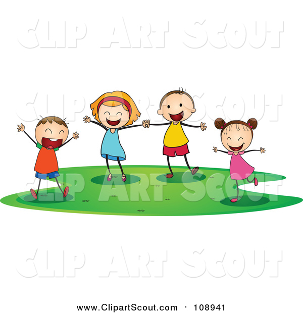 Clipart of Joyous Caucasian Children Playing by colematt.