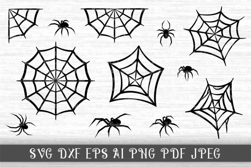 Spider SVG, Black widow clipart, Spider web cut file Design.