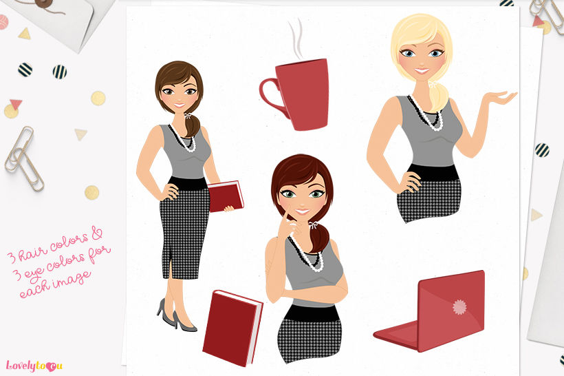 Woman business character clipart (Georgia L103) By.