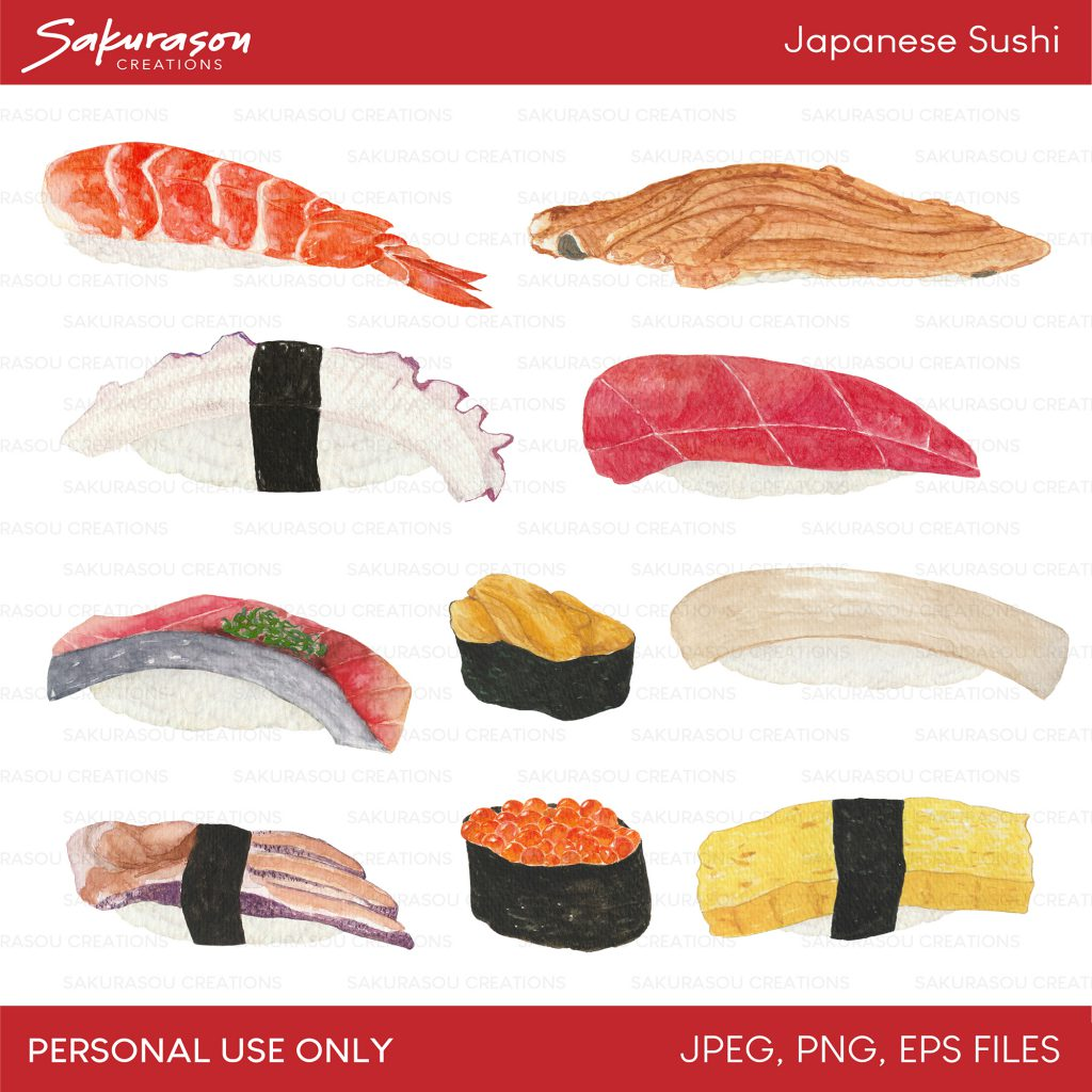Japanese Sushi Set #1 Watercolor Clipart / Personal Use / SCG004.