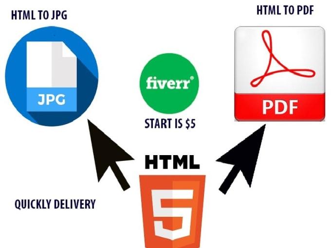 sathirashanuka : I will convert HTML page to jpg,jpeg,png,pdf files for $5  on www.fiverr.com.