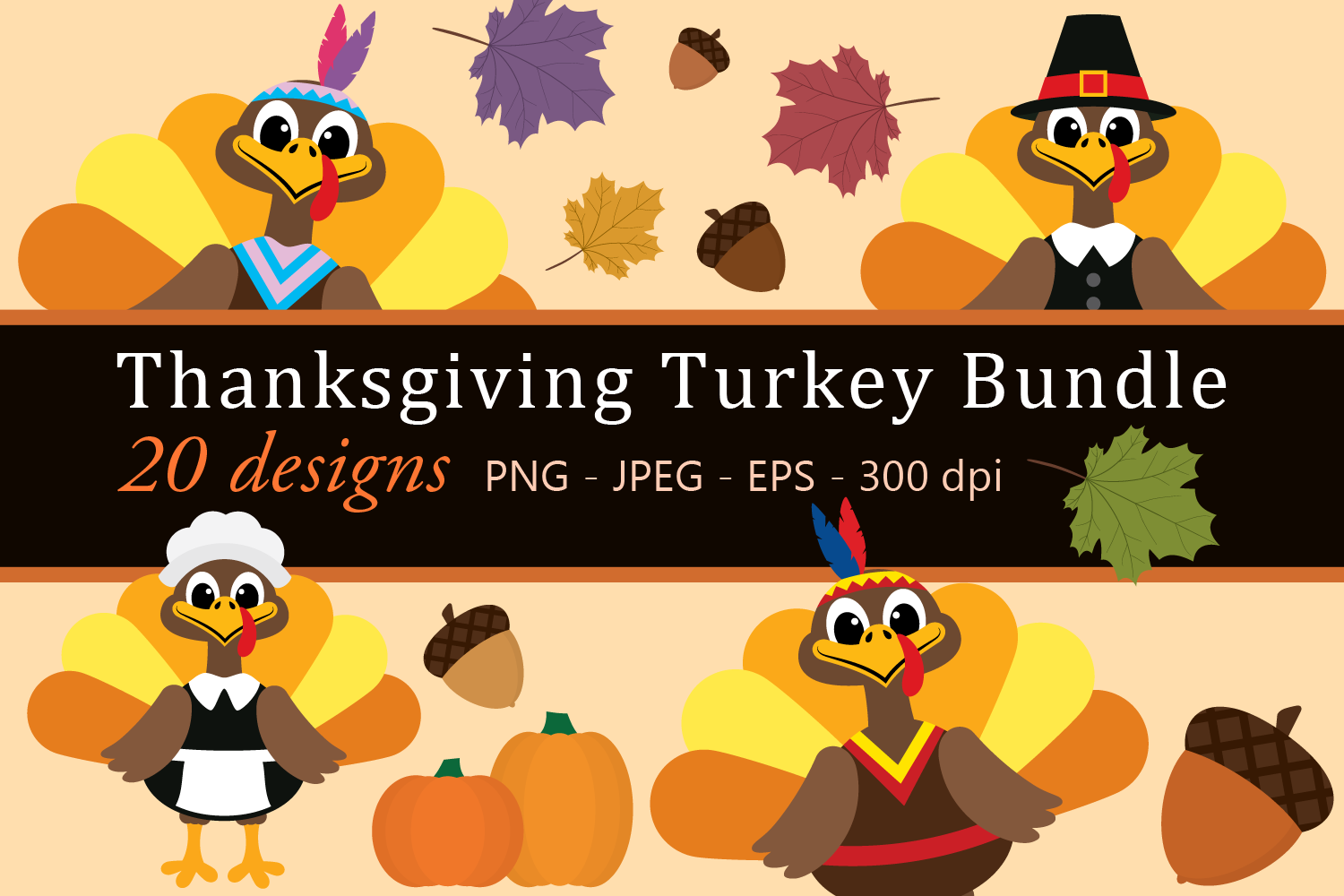 Thanksgiving Turkey Bundle Clipart, Fall, PNG, JPEG, EPS.