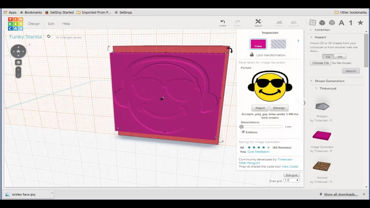 Tinkercad: Import and Apply a JPG File.